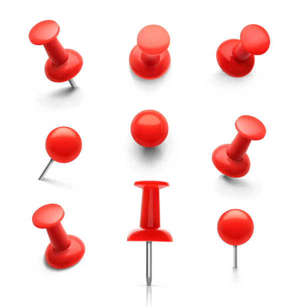 set of push pins in different angles. - przypinka stock illustrations