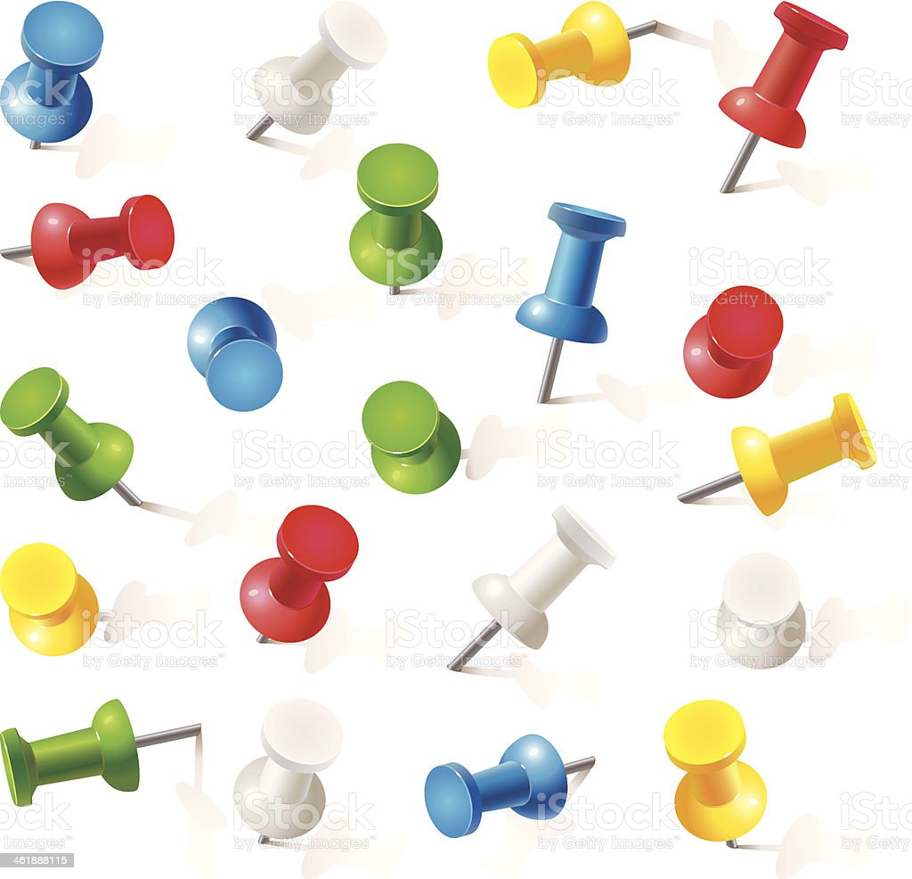 Set of push pins in different colors. Thumbtacks vector art illustration