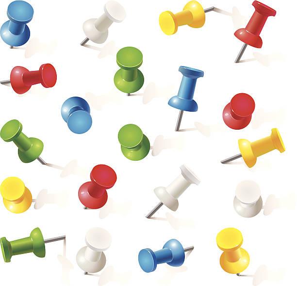 satz push-pins in verschiedenen farben.  thumbtacks - heftzwecke stock-grafiken, -clipart, -cartoons und -symbole