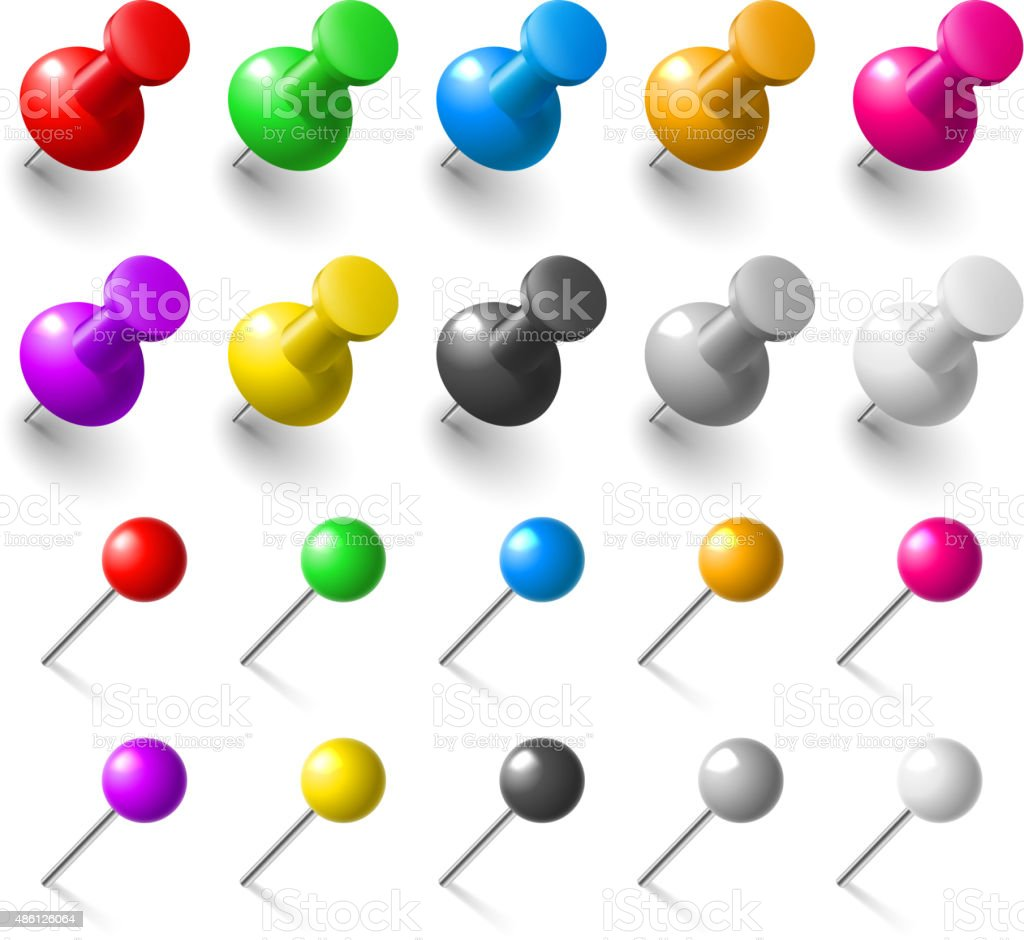 Set of pushpin vector art illustration