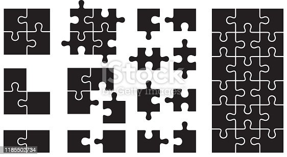 Vector illustration of puzzle icons in black.
