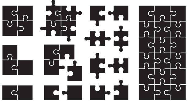 satz von puzzle-icons - puzzle stock-grafiken, -clipart, -cartoons und -symbole