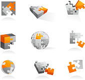 set of puzzle icons - vector