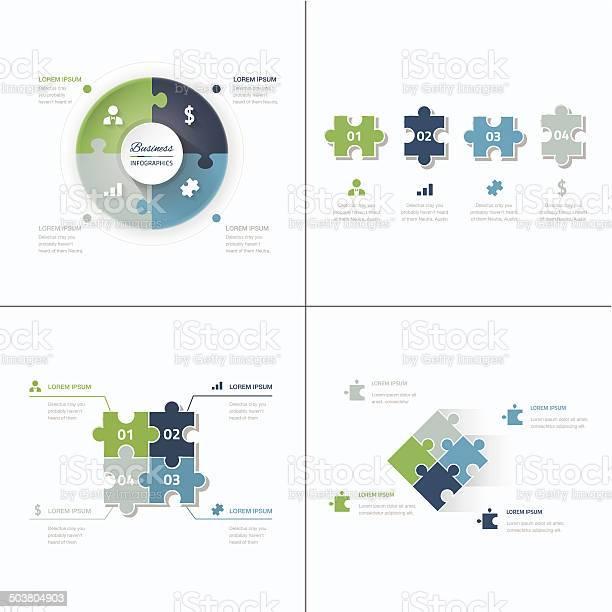 Set of puzzle pieces jigsaw business infographics concept vector vector id503804903?b=1&k=6&m=503804903&s=612x612&h=wc9j9jnu4a i8rijl0ogq3mliydkm6crxmgtuwozn3m=