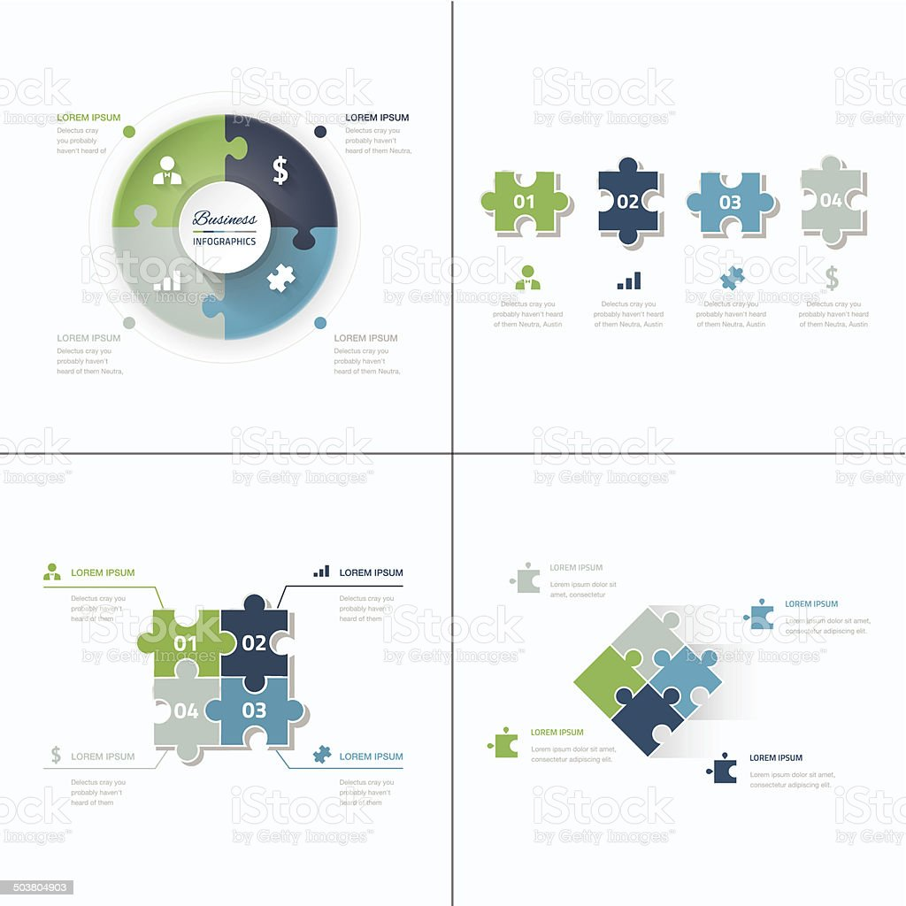 Set of puzzle pieces jigsaw business infographics concept vector vector art illustration
