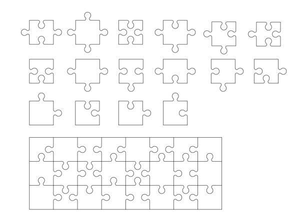 ein satz von puzzle teile - puzzle stock-grafiken, -clipart, -cartoons und -symbole