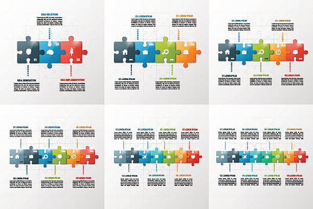 set of puzzle style infographic templates 3-8 steps - pojedynczny stopień stock illustrations