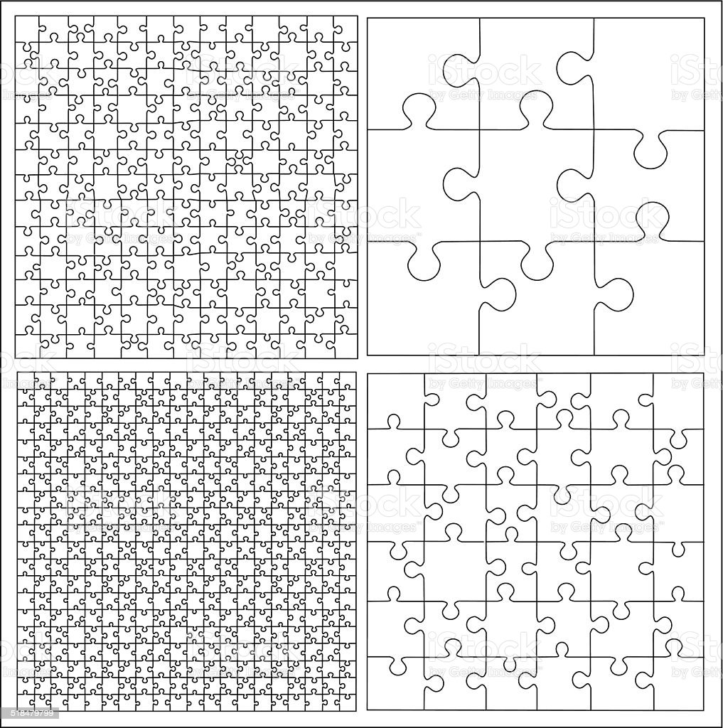 パズルのテンプレートベクトルのセット おもちゃのベクターアート素材