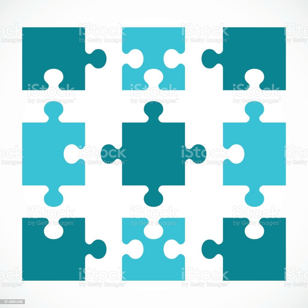 set of puzzle vector art illustration