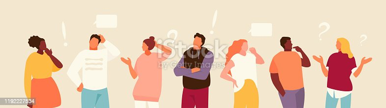 istock Set of puzzled people vector 1192227534