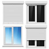 Set of PVC windows and metal roller blind