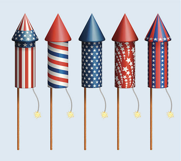 Set of pyrotechnic rockets Set of pyrotechnic rockets, with design for fourth of july, and other holidays, EPS 10 contains transparency. explosive fuse stock illustrations