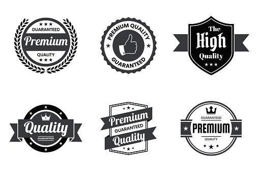 """Set of """"Quality"""" Black Badges and Labels - Design Elements"""