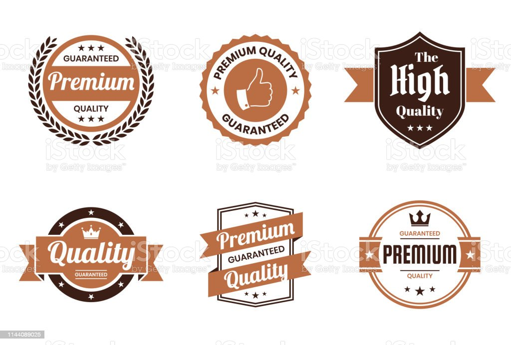 "Set of ""Quality"" Brown Badges and Labels - Design Elements - Royalty-free Award stock vector"
