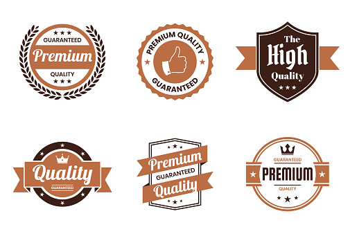 """Set of """"Quality"""" Brown Badges and Labels - Design Elements"""