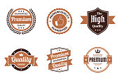"Set of 6 ""Quality"" Brown badges and labels, isolated on white background (Premium - Guaranteed Quality, Premium Quality Guaranteed, The High Quality, Quality - Guaranteed, Premium Quality - Guaranteed). Elements for your design, with space for your text. Vector Illustration (EPS10, well layered and grouped). Easy to edit, manipulate, resize or colorize."