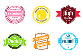 """Set of 6 """"Quality"""" Multicolored badges and labels (Red, orange, yellow, green, blue, pink), isolated on white background (Premium - Guaranteed Quality, Premium Quality Guaranteed, The High Quality, Quality - Guaranteed, Premium Quality - Guaranteed). Elements for your design, with space for your text. Vector Illustration (EPS10, well layered and grouped). Easy to edit, manipulate, resize or colorize."""