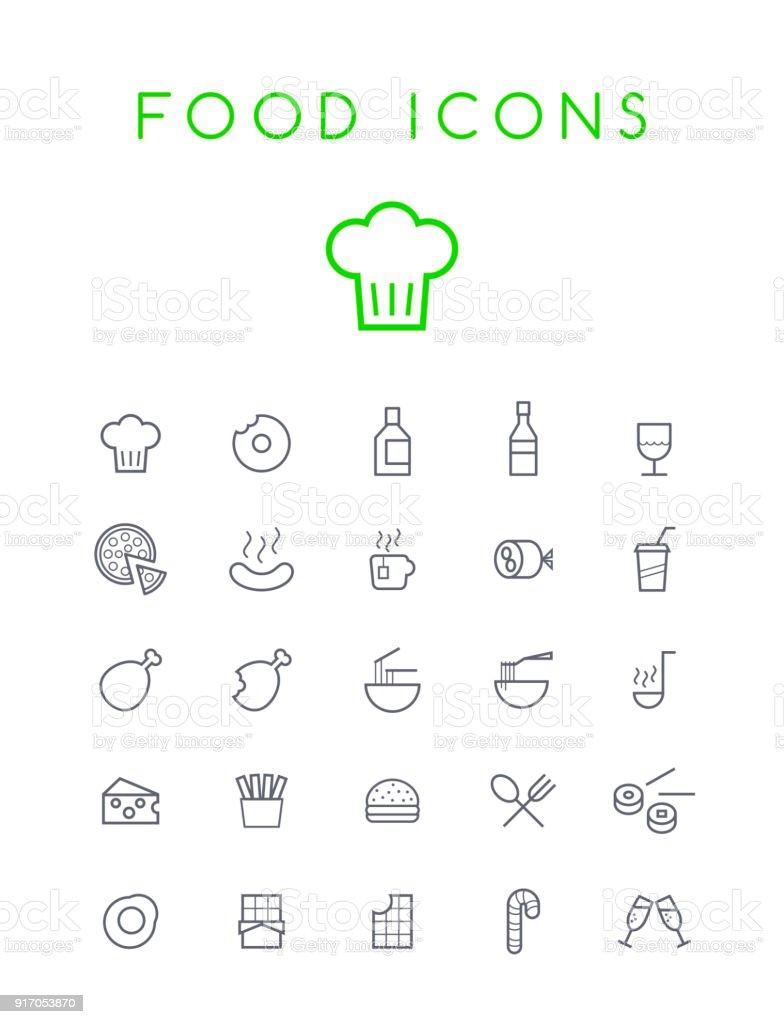 Set di qualità isolato Universal Standard minimo nero sottile linea cibo e bevande icone su sfondo bianco - arte vettoriale royalty-free di Berretto