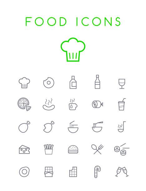 illustrazioni stock, clip art, cartoni animati e icone di tendenza di set di qualità isolato universal standard minimo nero sottile linea cibo e bevande icone su sfondo bianco - mortadella