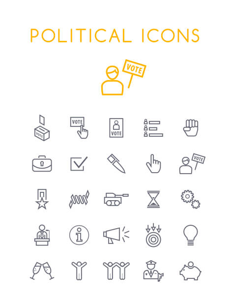 Set of Quality Isolated Universal Standard Minimal Simple Politics Black Thin Line Icons on White Background Isolated Vector Elements police meeting stock illustrations