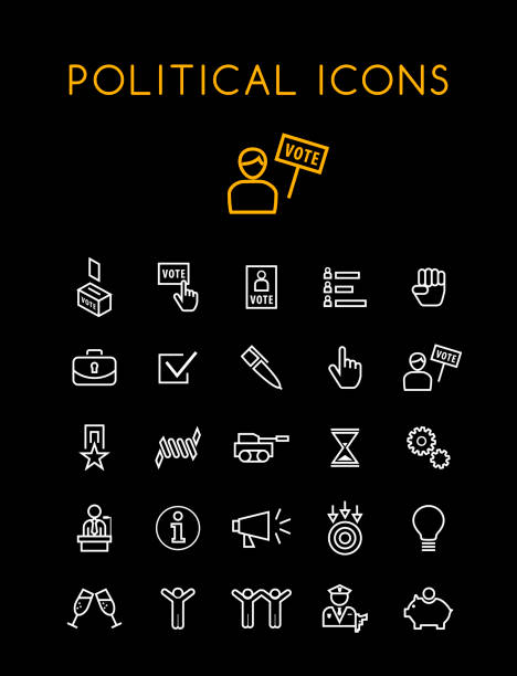 Set of Quality Isolated Universal Standard Minimal Simple Politics WhiteThin Line Icons on Black Background Isolated Vector Elements police meeting stock illustrations