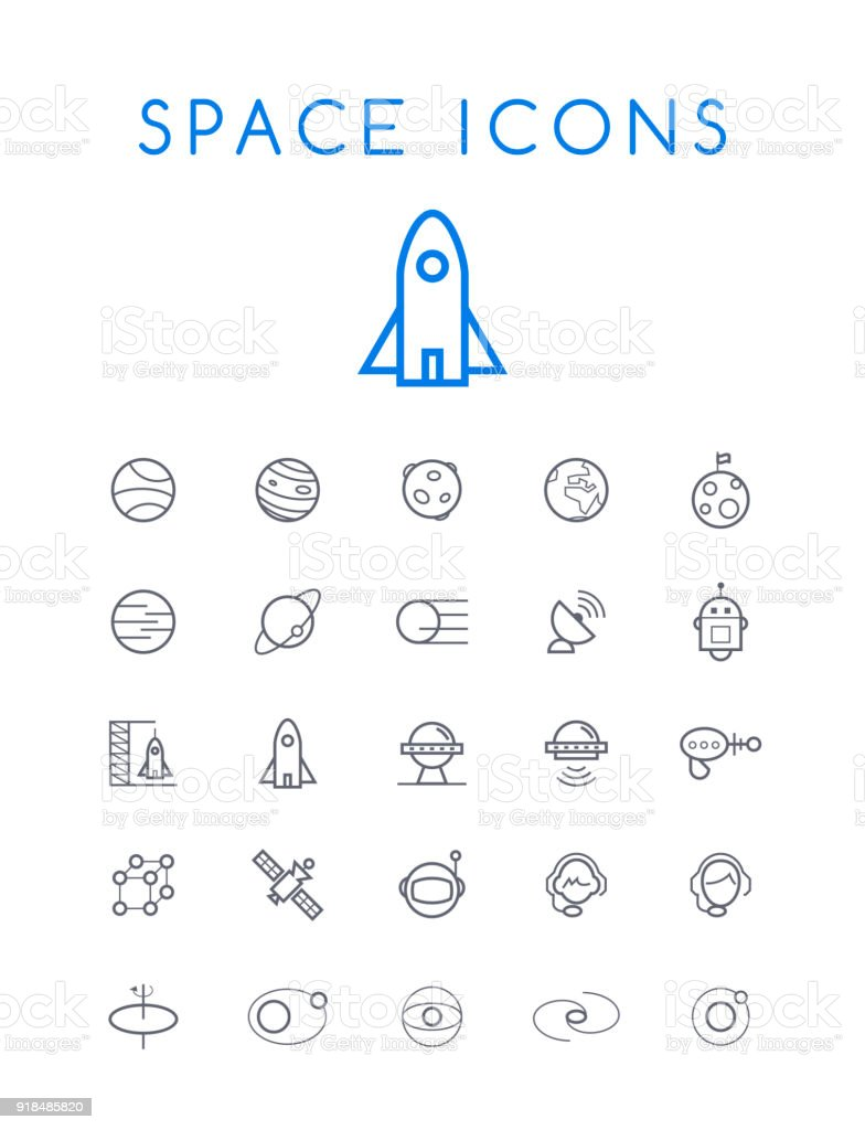 Set of Quality Isolated Universal Standard Minimal Simple Space Black Thin Line Icons on White Background vector art illustration