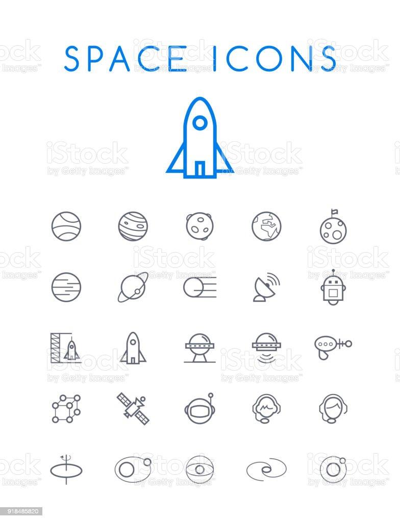 Conjunto de iconos de línea fina negra espacio Simple mínimo estándar Universal de calidad aislado sobre fondo blanco - ilustración de arte vectorial
