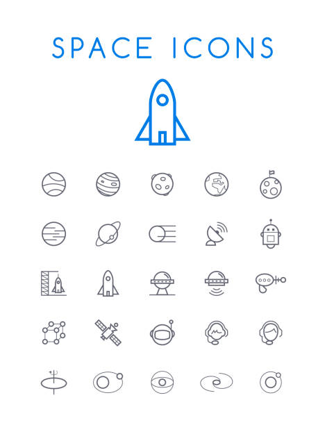 set of quality isolated universal standard minimal simple space black thin line icons on white background - space exploration stock illustrations, clip art, cartoons, & icons