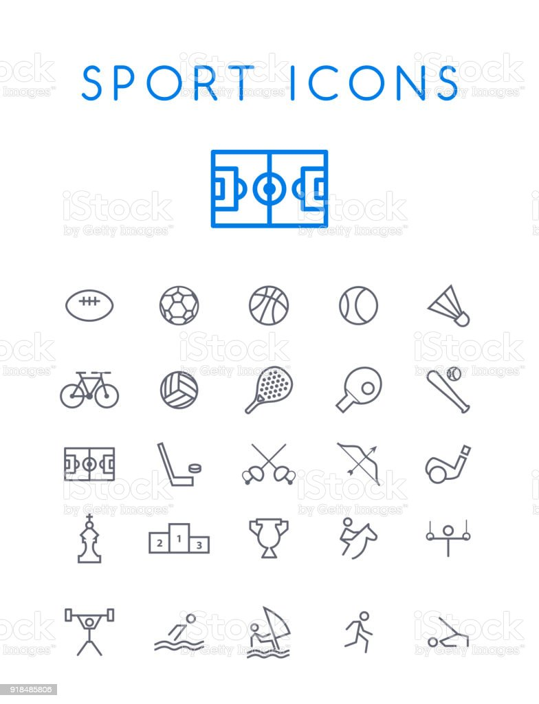 Set of Quality Isolated Universal Standard Minimal Simple Sport Black Thin Line Icons on White Background vector art illustration