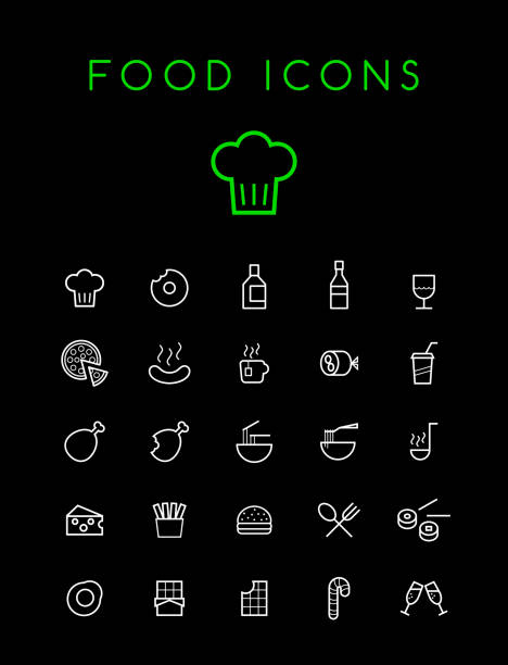 set of quality isolated universal standard minimal simple white thin line food and drink icons on black background - burger and chicken stock illustrations