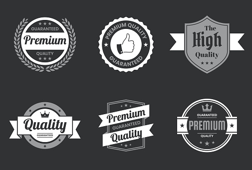 """Set of """"Quality"""" White Badges and Labels - Design Elements"""
