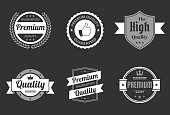 """Set of 6 """"Quality"""" White badges and labels, isolated on a black background (Premium - Guaranteed Quality, Premium Quality Guaranteed, The High Quality, Quality - Guaranteed, Premium Quality - Guaranteed). Elements for your design, with space for your text. Vector Illustration (EPS10, well layered and grouped). Easy to edit, manipulate, resize or colorize. Please do not hesitate to contact me if you have any questions, or need to customise the illustration. http://www.istockphoto.com/portfolio/bgblue"""