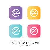 Set of Quit Smoking App Icon