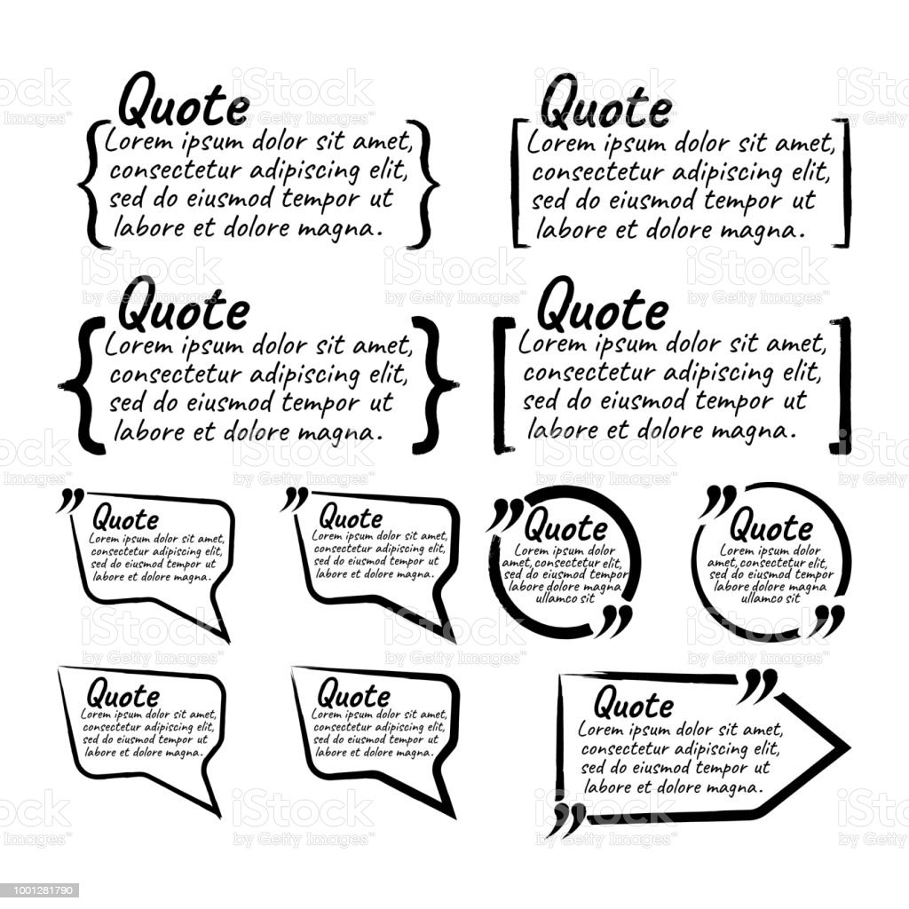 Set Of Quote Blank With Text Icon And Label Template For Notemessage ...
