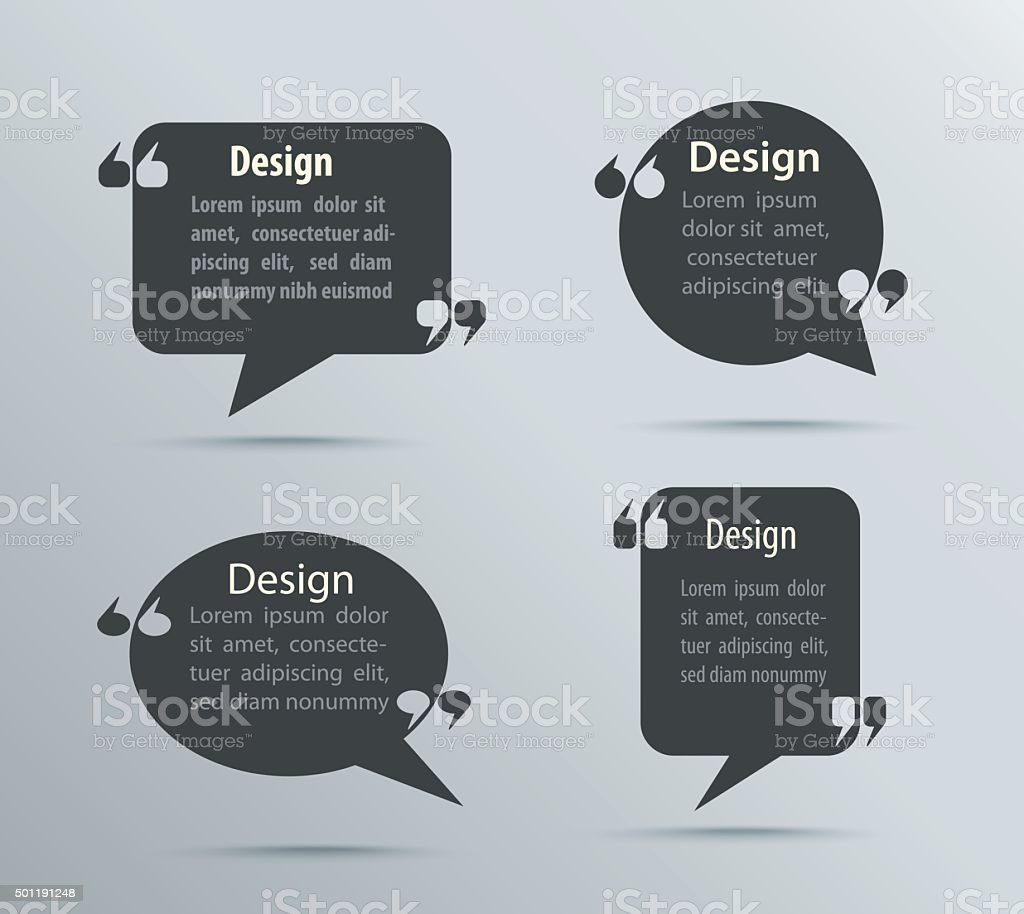 set of quote bubbles and templates for business quote form stock