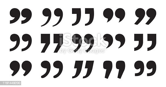 Set of quote mark, black sign isolated on white background. Vector illustration