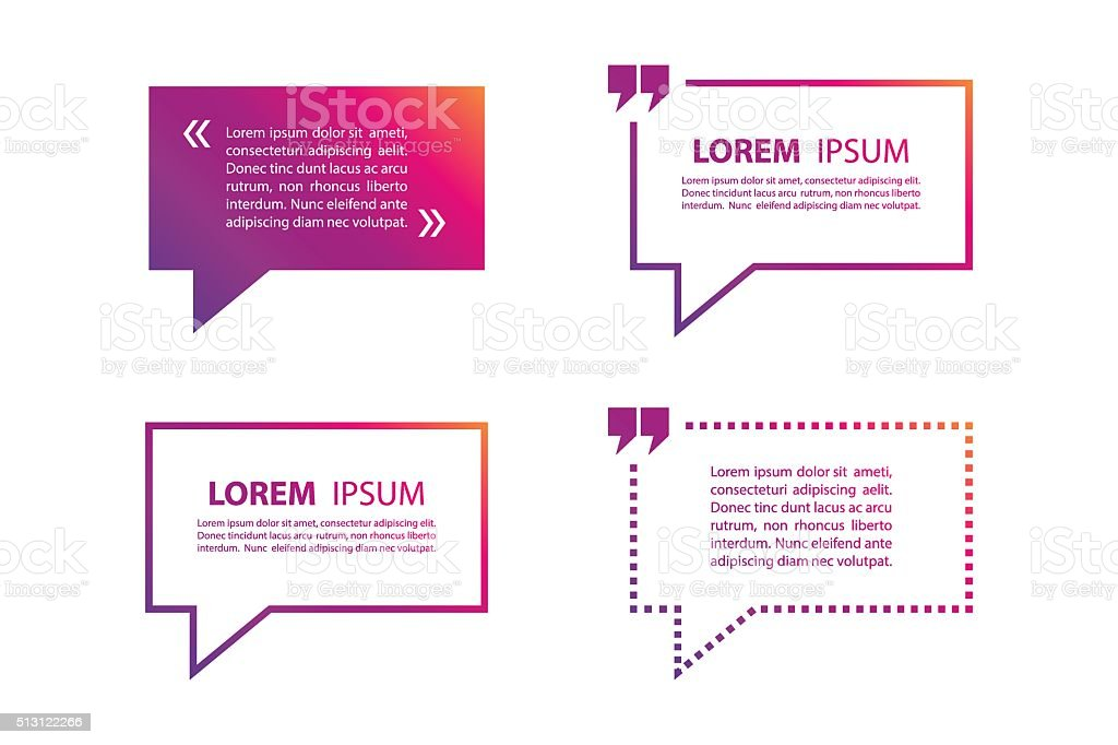 Set of quote text bubble template. Quote bubble. Quote form. vector art illustration