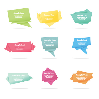 Set of quote vector abstract geometric origami speech bubbles background