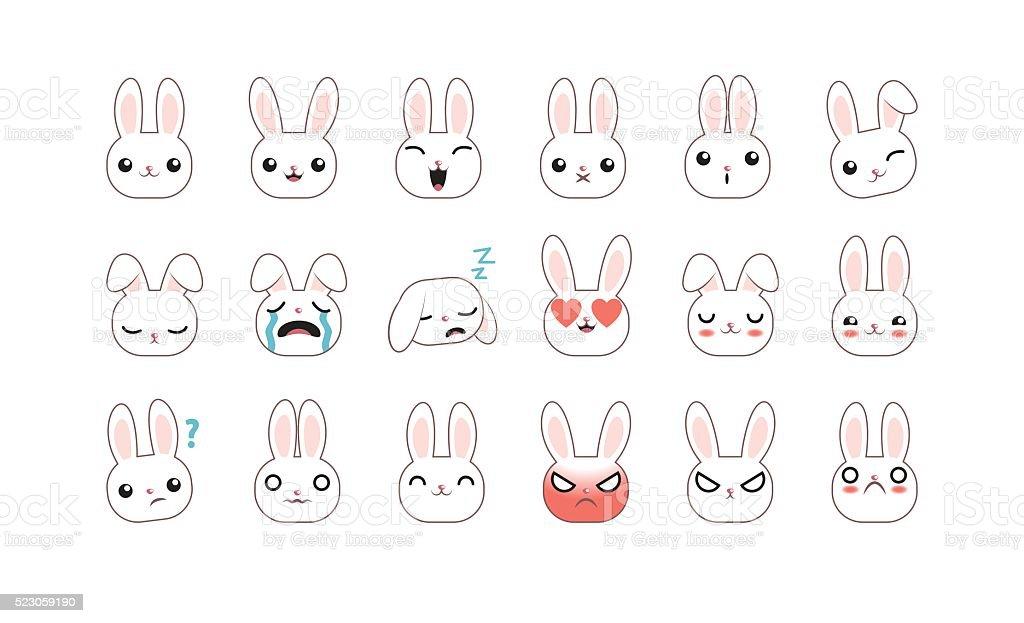 Groupe de lapin émoticônes - Illustration vectorielle