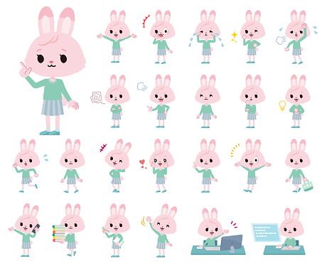 A set of rabbit girl with who express various emotions