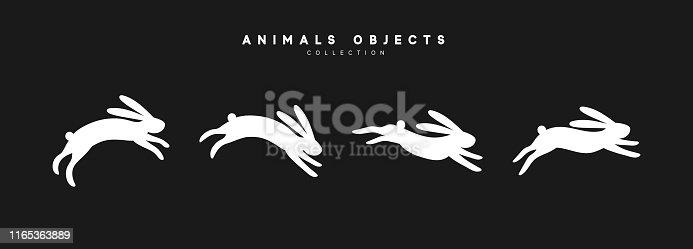 Set of rabbit illustration. Collection white bunny isolated on black background.