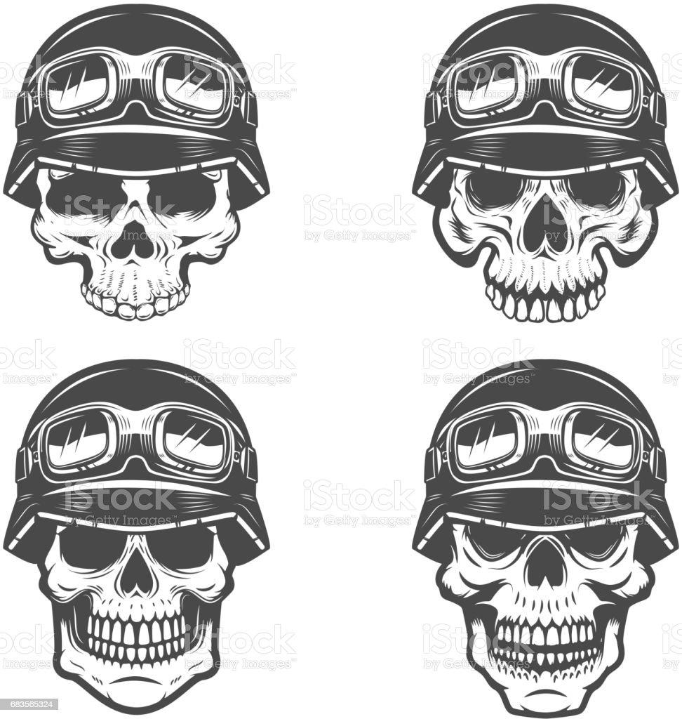 Set of racer skulls isolated on white background. Design elements for label, emblem, poster, t-shirt. Vector illustration. vector art illustration