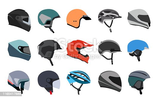 Racing helmets for car, motorcycle and bicycle. Head protection.