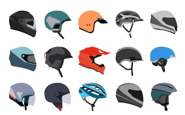 ilustrações de stock, clip art, desenhos animados e ícones de set of racing helmets on a white background. - helmet motorbike