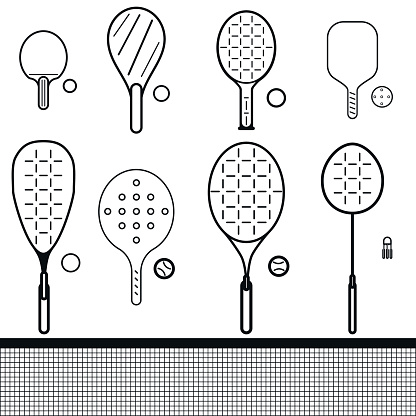 set of rackets and balls