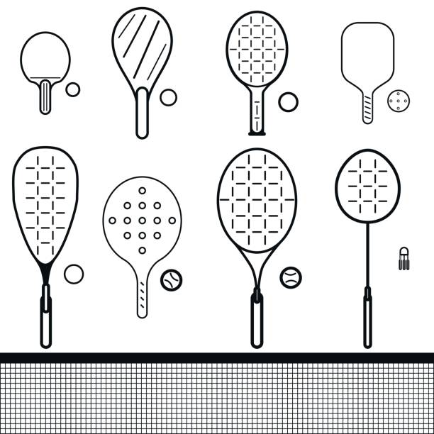 set of rackets and balls vector icons set of different game rackets, balls and shuttlecock to play to badminton, table and big tennis, beach  and platform tennis, pickleball, squash on white isolated backgrounds racket stock illustrations