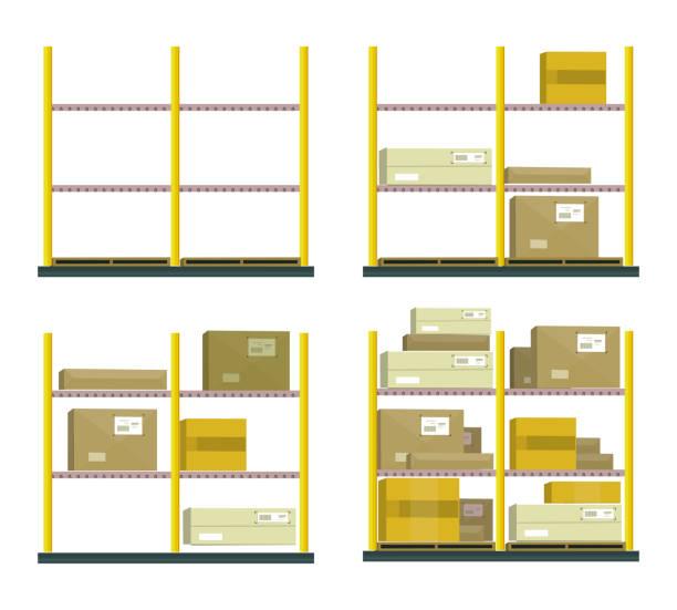 set of racks with boxes in flat design - kastenständer stock-grafiken, -clipart, -cartoons und -symbole
