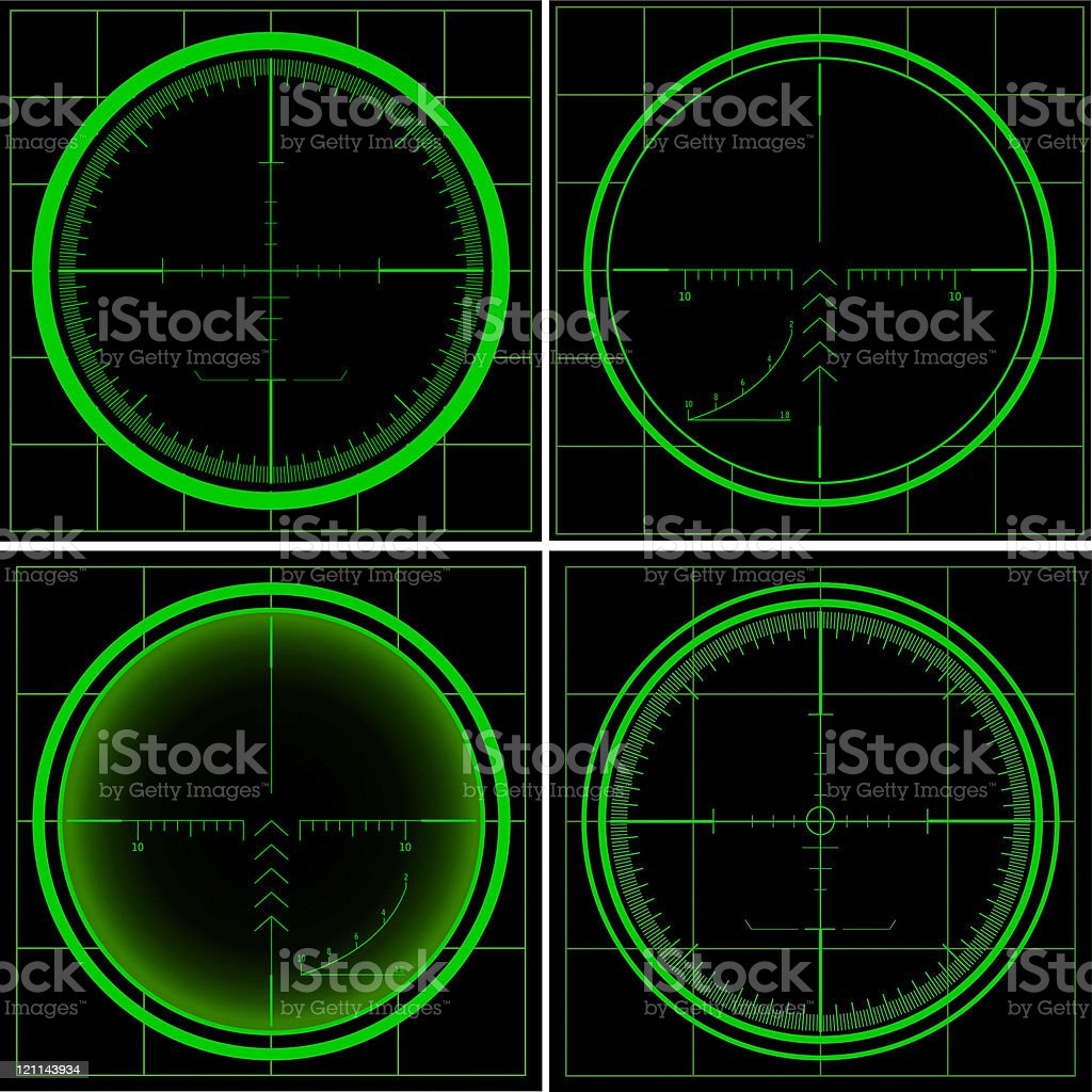 Set of Radar screens and Sniper's scopes. royalty-free set of radar screens and snipers scopes stock vector art & more images of accuracy