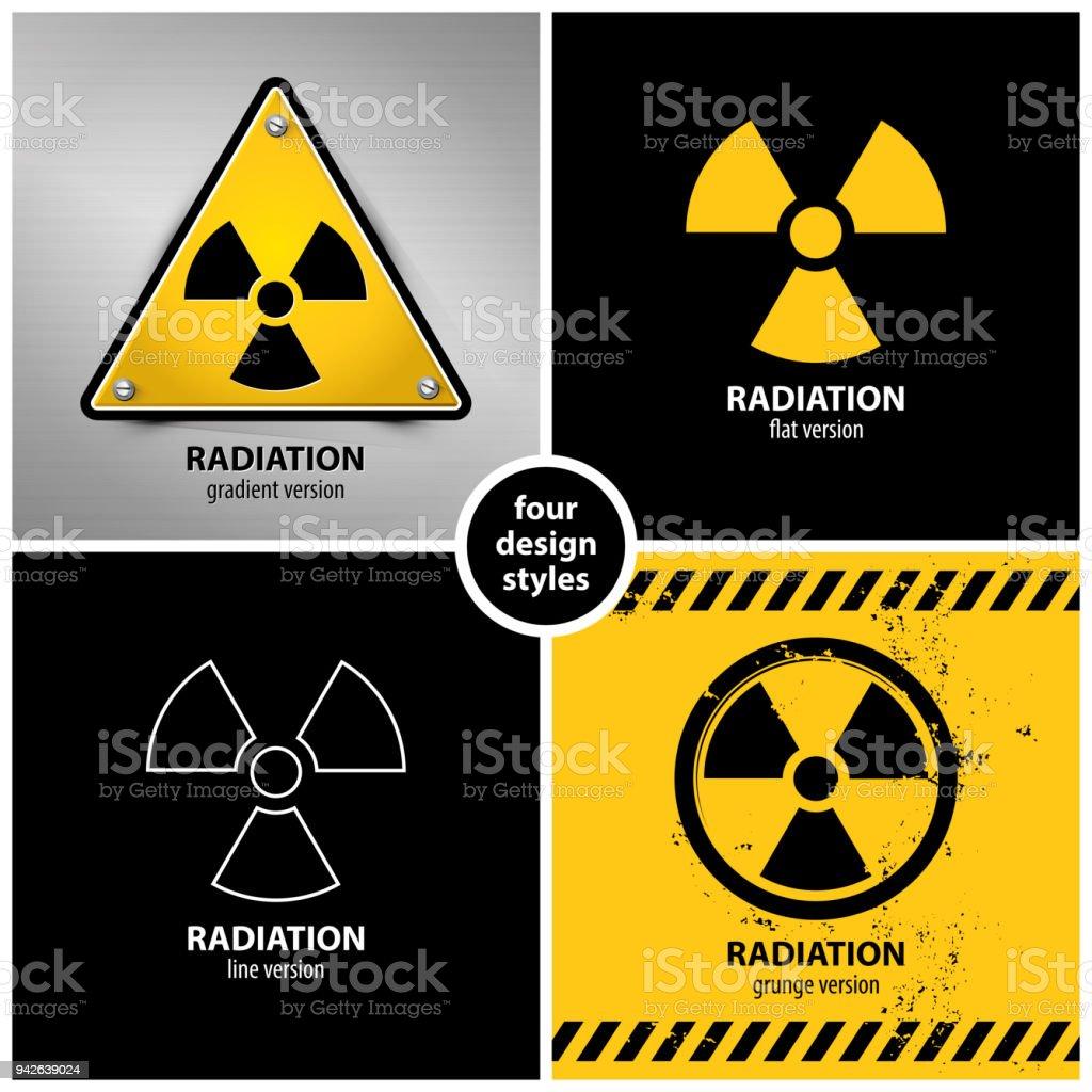 set of radiation warning symbols vector art illustration