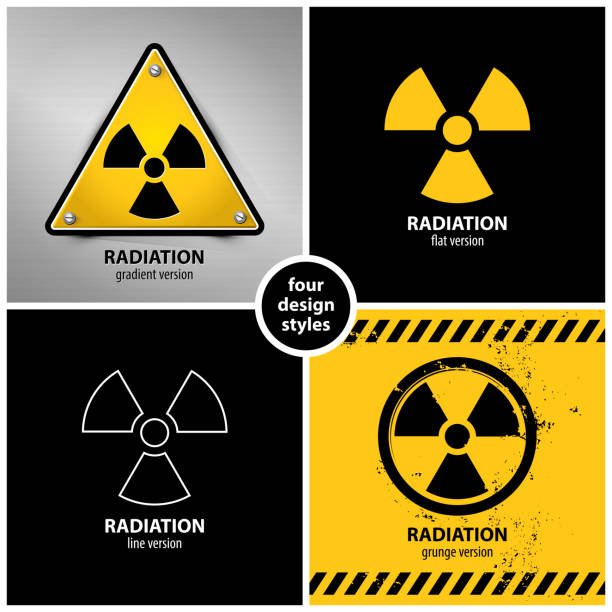 illustrazioni stock, clip art, cartoni animati e icone di tendenza di set of radiation warning symbols - reattore nucleare